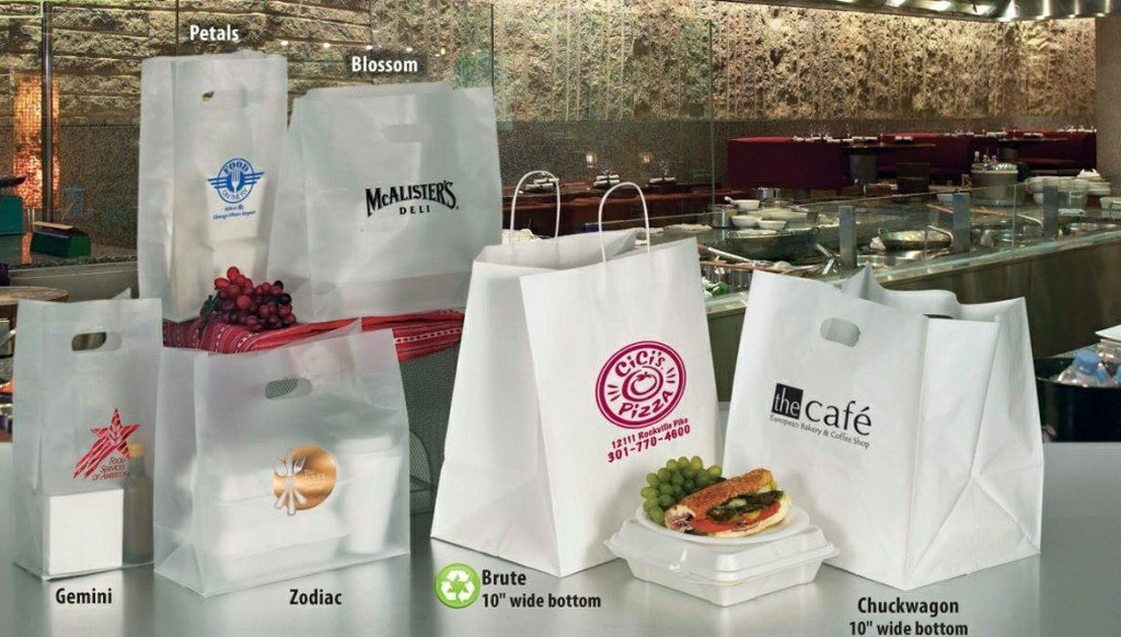 imprinted carry-out promotional bags or take-out bags