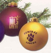 plastic holiday ornament with imprint