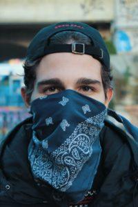 Man Wearing Bandanna COVID-19 Coronavirus Crisis