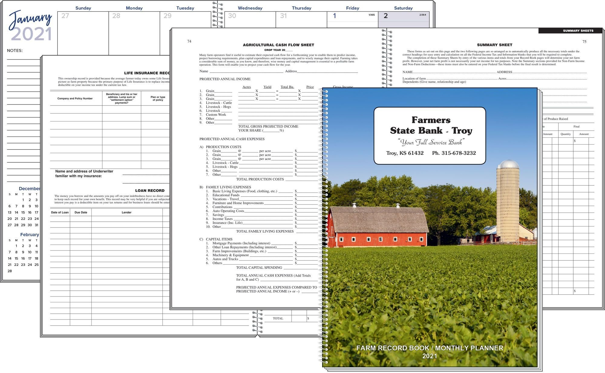 Farm Record Book And Monthly Plannerbagwell Promotions